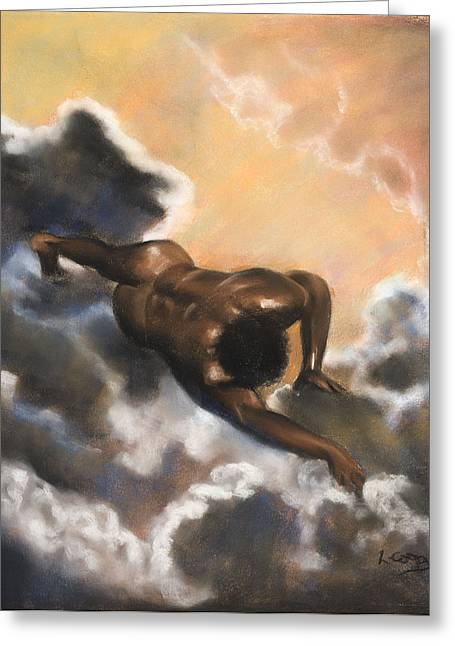 Figure Study Pastels Greeting Cards - Leaving Eden  Adam Greeting Card by L Cooper