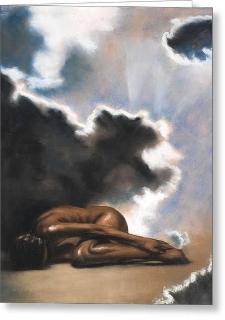 Figure Study Pastels Greeting Cards - Leaving Eden Eve Greeting Card by L Cooper