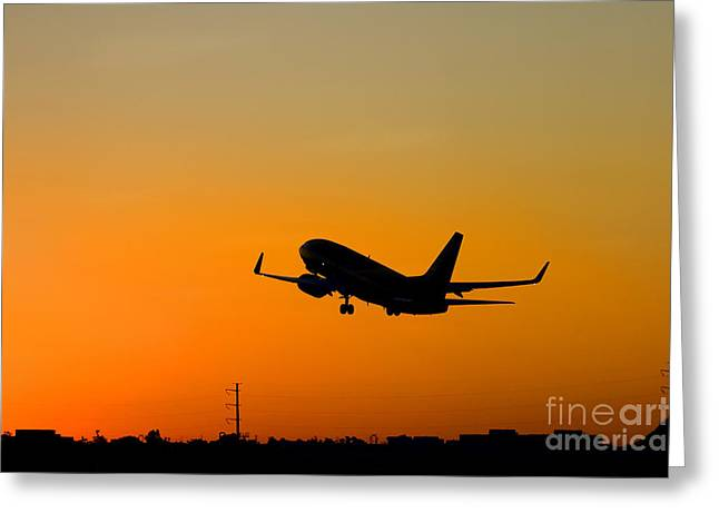 Leaving On A Jet Plane Greeting Card by Mike  Dawson