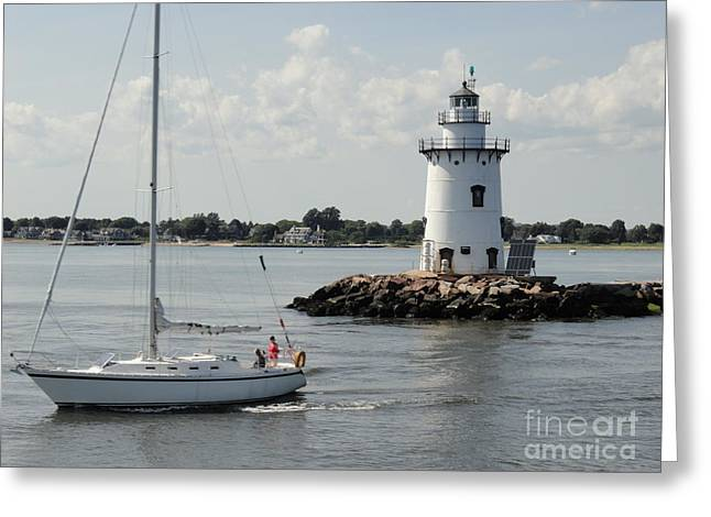 Saybrook Greeting Cards - Leaving Saybrook Greeting Card by Meandering Photography