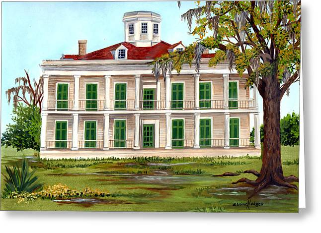 Moss Green Paintings Greeting Cards - LeBeau Plantation Front View Greeting Card by Elaine Hodges