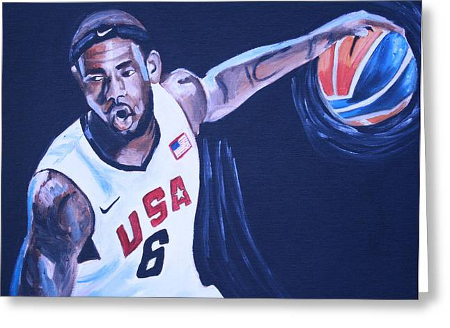 Basketball Posters Greeting Cards - Lebron James Portrait Greeting Card by Mikayla Henderson