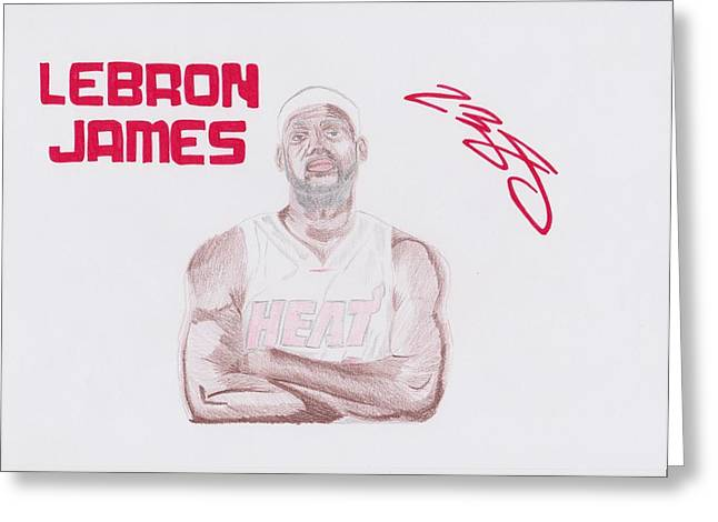 Miami Heat Posters Greeting Cards - LeBron James Greeting Card by Toni Jaso