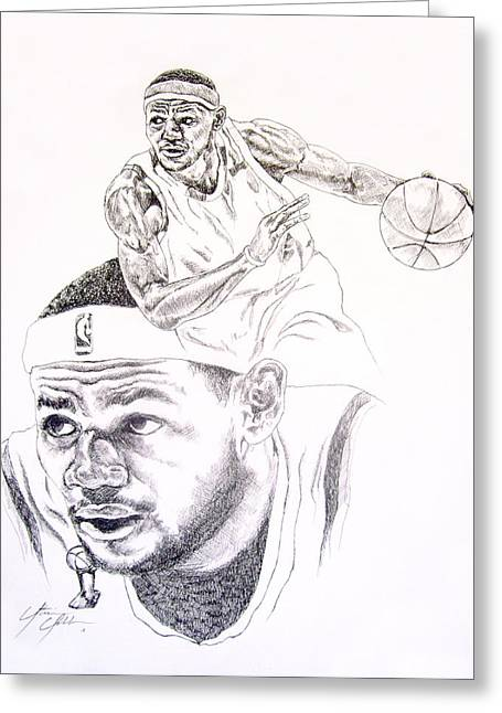 All Star Athlete Drawings Greeting Cards - Lebron Greeting Card by Otis  Cobb