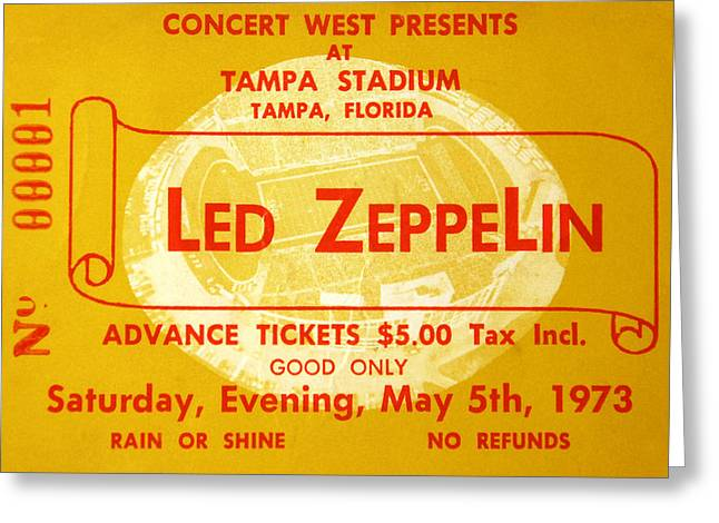 Rock And Roll Photographs Greeting Cards - Led Zeppelin ticket Greeting Card by David Lee Thompson