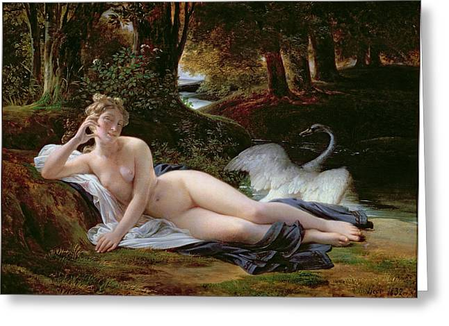 That Greeting Cards - Leda and the Swan Greeting Card by Francois Edouard Picot