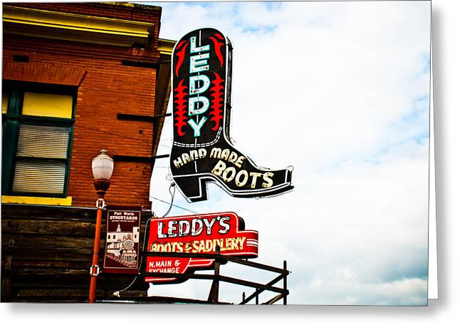 Stockyards Greeting Cards - Leddys Boots Greeting Card by David Waldo