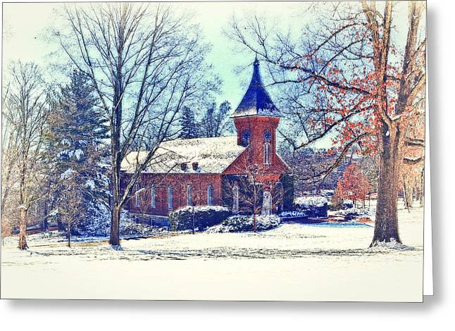 Snow Scene Landscape Greeting Cards - Lee Chapel February 2012 Series IV Greeting Card by Kathy Jennings