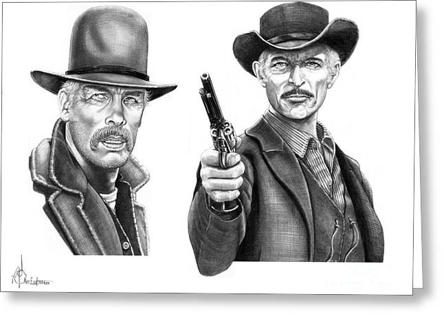 Western Pencil Drawings Greeting Cards - Lee Marvin-Lee Van Cleef Greeting Card by Murphy Elliott