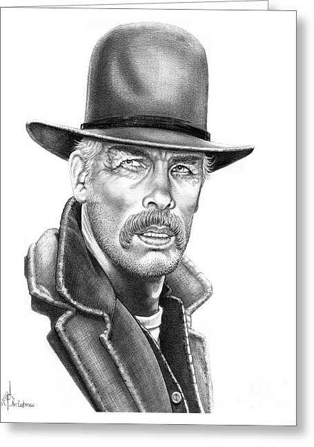 Western Pencil Drawings Greeting Cards - Lee Marvin Greeting Card by Murphy Elliott