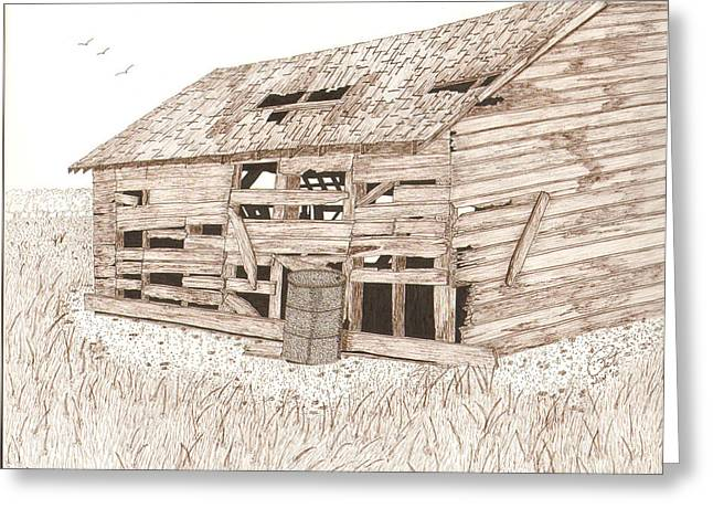 Old Barn Pen And Ink Greeting Cards - Lees Barn Greeting Card by Pat Price