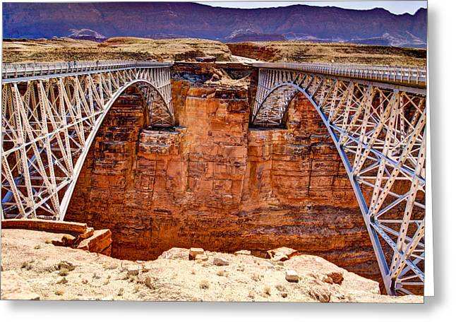 Northern Arizona Greeting Cards - Lees Ferry Bridges Greeting Card by Jon Berghoff