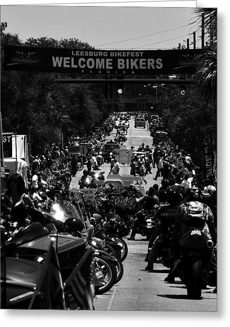 Welcome Signs Greeting Cards - Leesburg Florida 2012 Bikefest work C Greeting Card by David Lee Thompson
