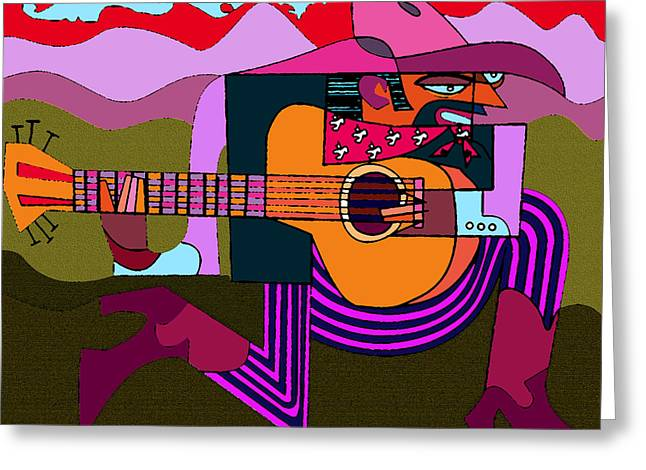 D.w. Mixed Media Greeting Cards - Left Handed Guitarist Greeting Card by Dean Gleisberg