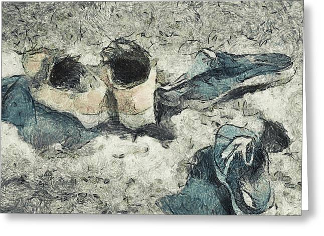 White Sneakers Greeting Cards - Left On The Beach Greeting Card by Trish Tritz
