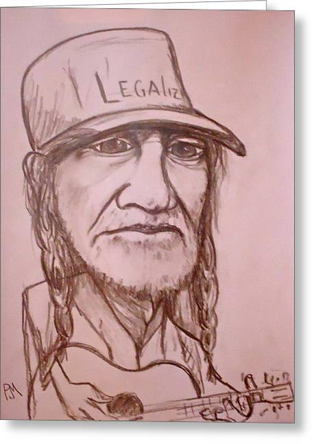 Guitar Player Drawings Greeting Cards - Legalize Greeting Card by Pete Maier