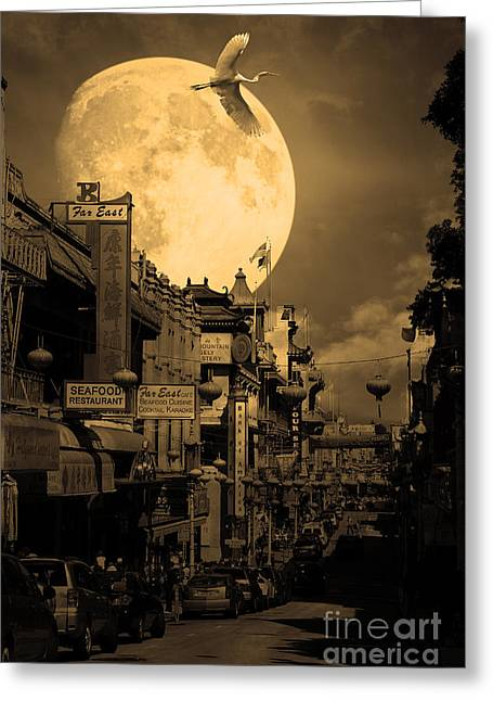 Snowy Night Night Greeting Cards - Legend of The Great White Phoenix of Chinatown . 7D7172 . Sepia Greeting Card by Wingsdomain Art and Photography