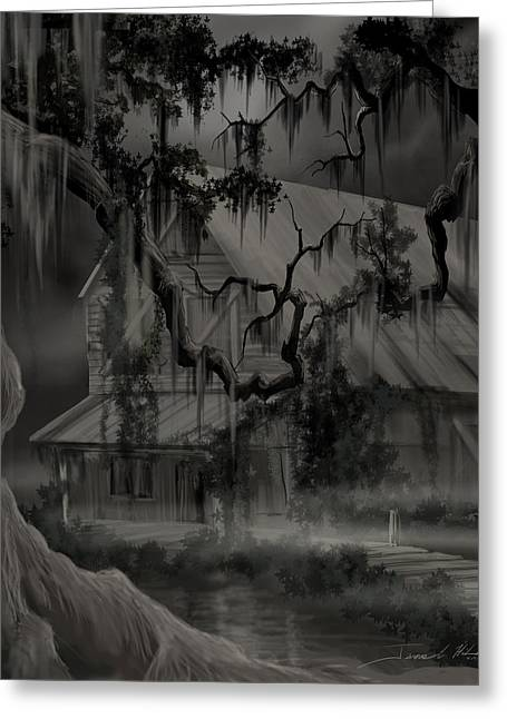 Legend Of The Old House In The Swamp Greeting Card by James Christopher Hill