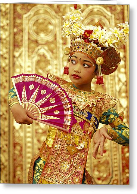 Asian Influence Greeting Cards - Legong Dancer Greeting Card by Dana Edmunds - Printscapes