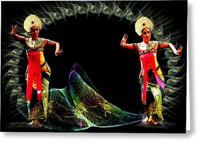 Dancers Rehearsing Greeting Cards - Legong dancing girls - Balinese dances Greeting Card by Yvon van der Wijk
