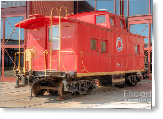 Caboose Greeting Cards - Lehigh and New England Caboose Greeting Card by Clarence Holmes