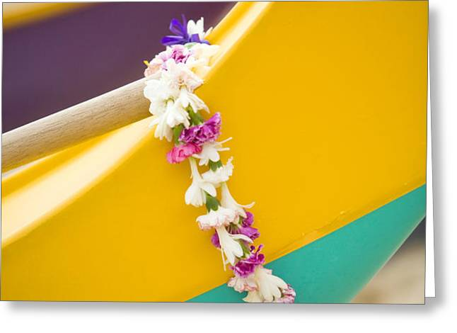 Lei draped over outrigger Greeting Card by Dana Edmunds - Printscapes