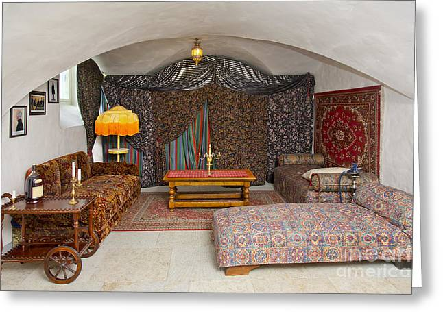 Persian Rug Greeting Cards - Leisure Room With Colorful Furniture and Curtains Greeting Card by Jaak Nilson