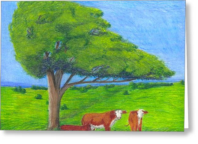 Cattle Pastels Greeting Cards - Leisure Time Greeting Card by Mendy Pedersen