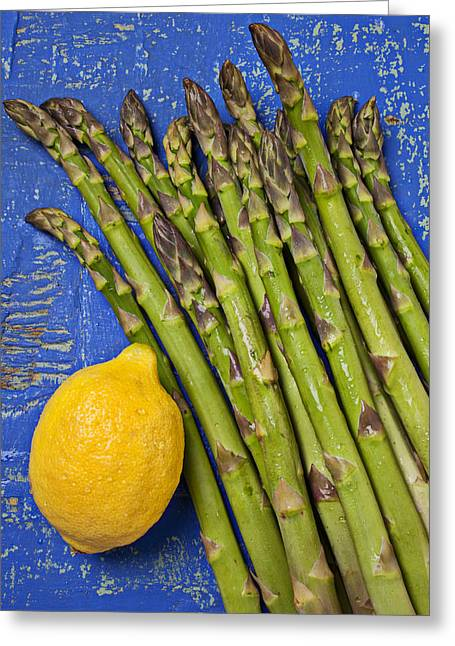 Vitamin Greeting Cards - Lemon and asparagus  Greeting Card by Garry Gay