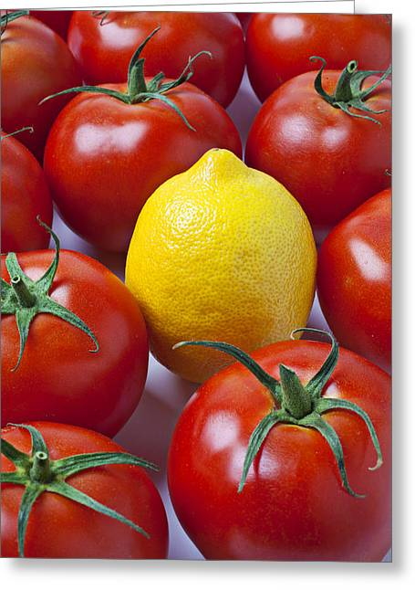 Sour Greeting Cards - Lemon and tomatoes Greeting Card by Garry Gay