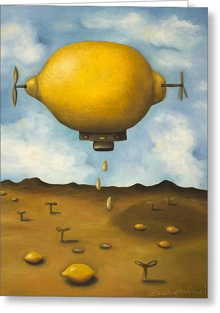 Lemon Drops Greeting Card by Leah Saulnier The Painting Maniac