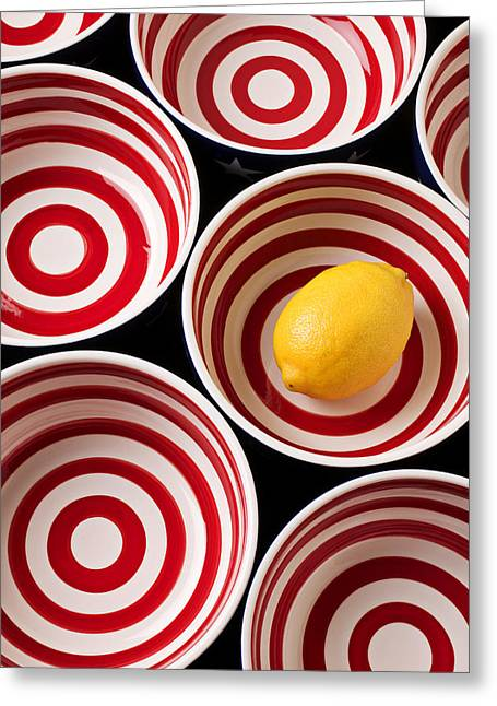 Culinary Greeting Cards - Lemon in red and white bowl  Greeting Card by Garry Gay