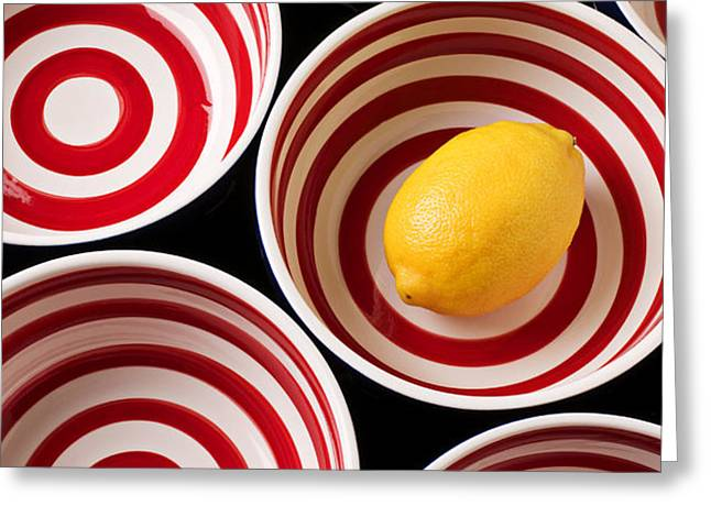 Lemon in red and white bowl  Greeting Card by Garry Gay