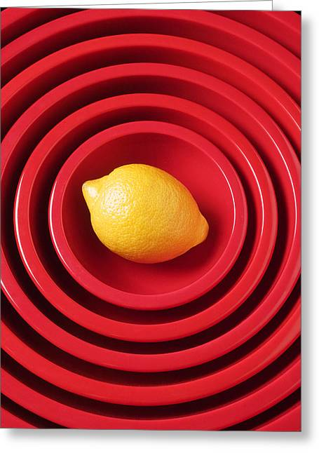Fruits Photographs Greeting Cards - Lemon in red bowls Greeting Card by Garry Gay