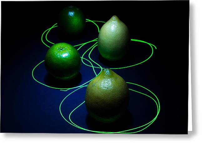 Lemon Art Greeting Cards - Lemon N Lime Laser Funk Greeting Card by Ian Hufton