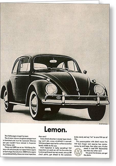 Classic Car Greeting Cards - Lemon Greeting Card by Nomad Art And  Design