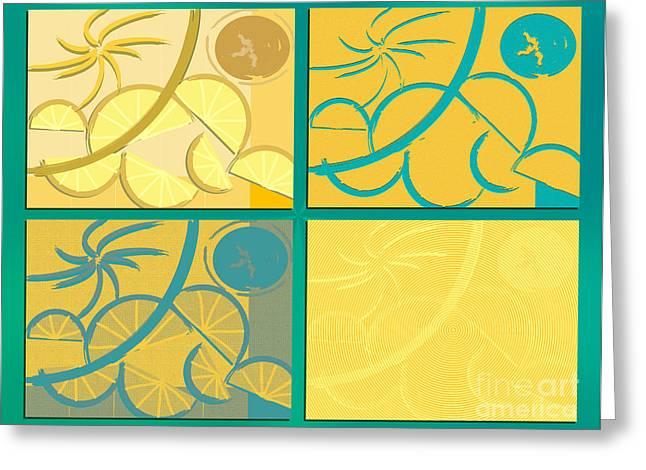 Michelle Bergersen Greeting Cards - Lemon Sun and Moon Greeting Card by Michelle Bergersen