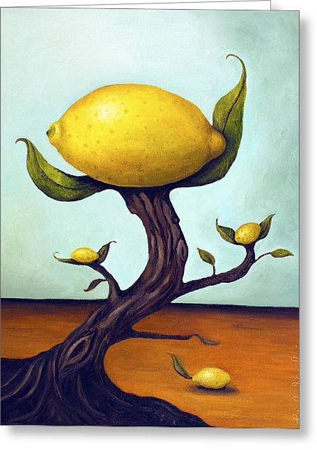 Magritte Greeting Cards - Lemon Tree Greeting Card by Leah Saulnier The Painting Maniac