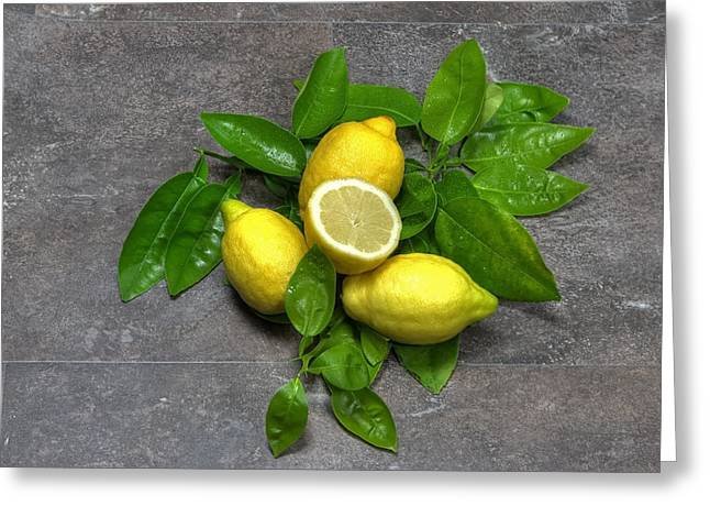 Vitamin C Greeting Cards - Lemon With Leaves Greeting Card by Joana Kruse