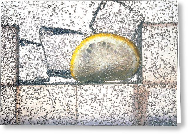 Carbonated Greeting Cards - Lemonade: Carbonated Water Drink With Ice & Lemon Greeting Card by Phil Jude
