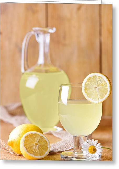 Wooden Table Greeting Cards - Lemonade Greeting Card by Amanda And Christopher Elwell