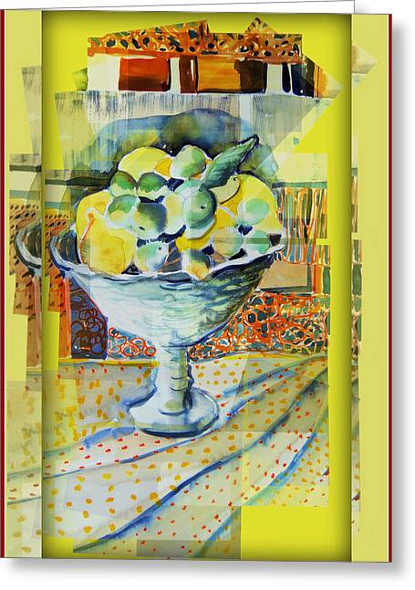 Lemon Art Greeting Cards - Lemons Ala Cart Greeting Card by Mindy Newman