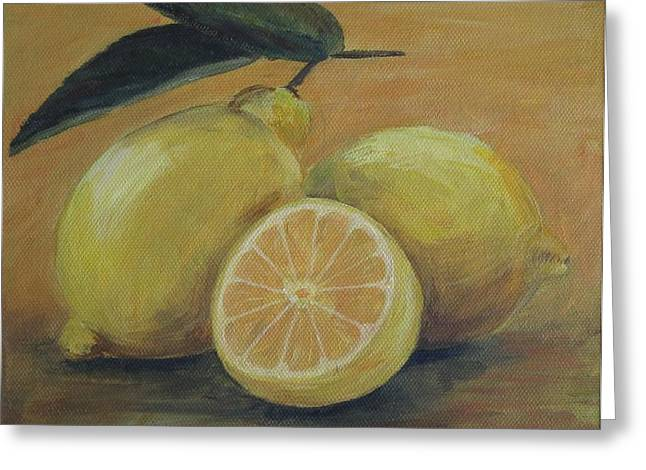 Lemons Greeting Card by Ema Dolinar Lovsin