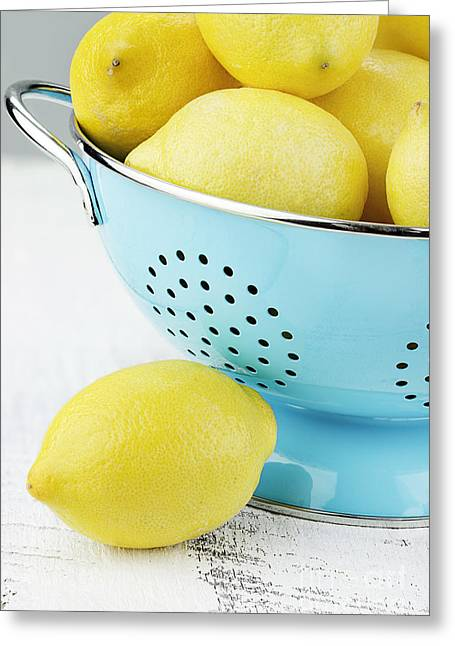 Fruits Photographs Greeting Cards - Lemons in Blue Greeting Card by Stephanie Frey