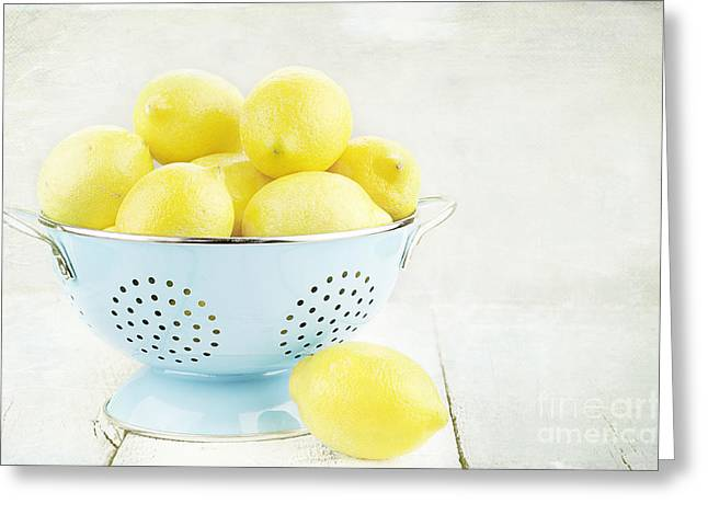 Colander Greeting Cards - Lemons in Retro Greeting Card by Stephanie Frey