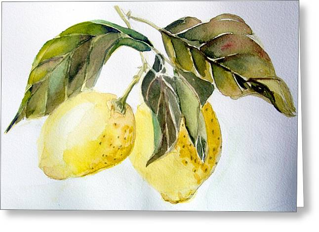 Snack Drawings Greeting Cards - Lemons Greeting Card by Mindy Newman