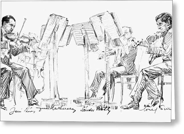 Music Stand Greeting Cards - Lener String Quartet Greeting Card by Granger