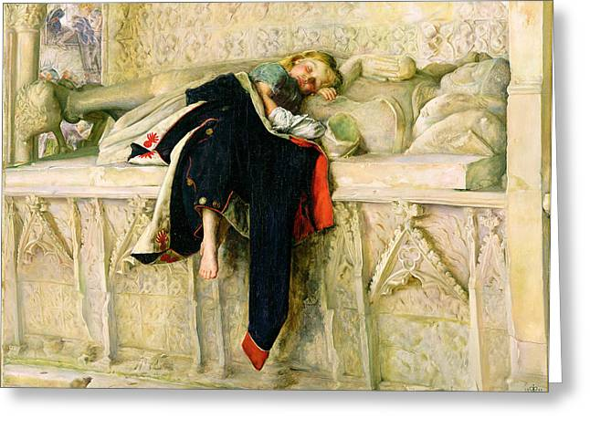Exhausted Greeting Cards - LEnfant du Regiment Greeting Card by Sir John Everett Millais