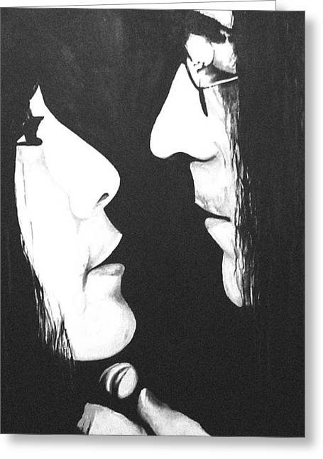 Yoko Greeting Cards - Lennon and Yoko Greeting Card by Ashley Price