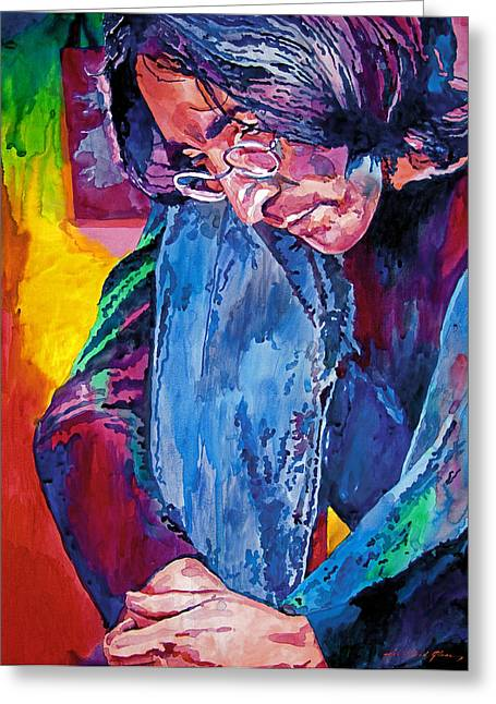 Rock Stars Paintings Greeting Cards - Lennon In Repose Greeting Card by David Lloyd Glover